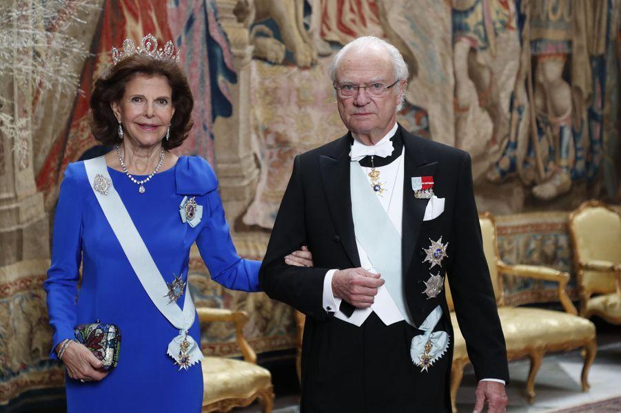 La reine Silvia et le roi Carl XVI Gustaf de Suède à Stockholm, le 11 décembre 2019