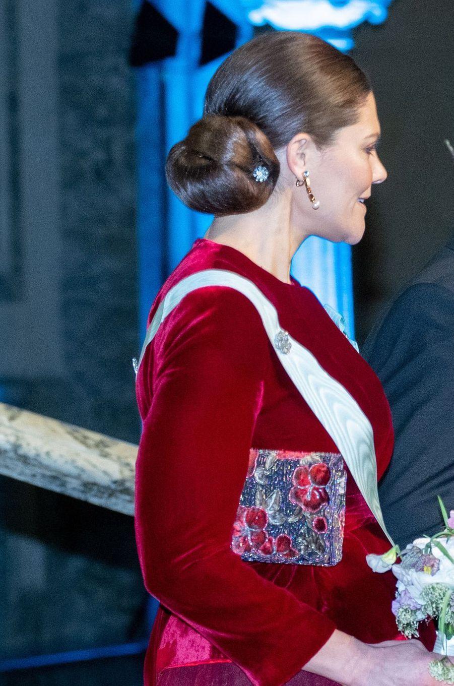 La coiffure de la princesse Victoria de Suède à Stockholm, le 28 janvier 2019