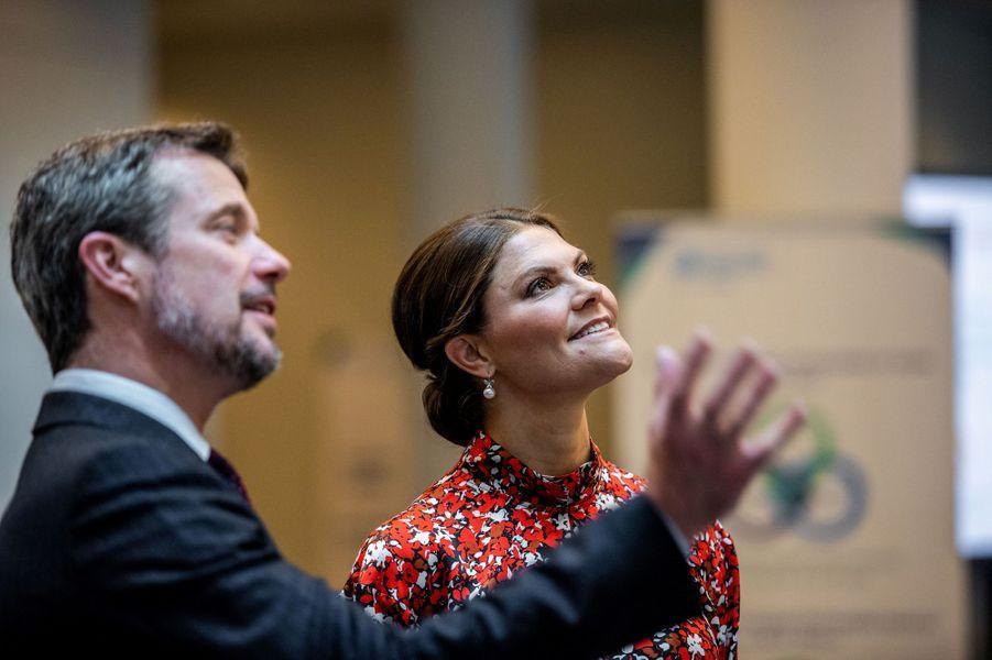 La princesse Victoria de Suède avec le prince Frederik de Danemark, à Copenhague le 17 septembre 2019