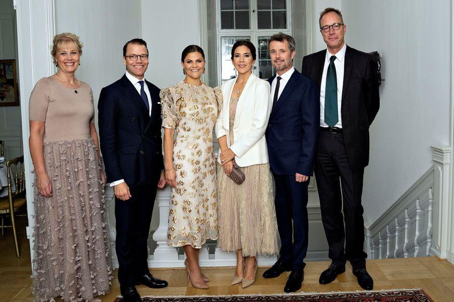 La princesse Victoria et le prince Daniel de Suède avec la princesse Mary et le prince Frederik de Danemark, à Copenhague le 17 septembre 2019