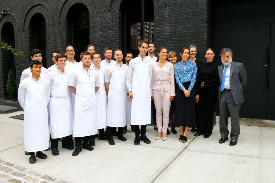 La princesse Victoria de Suède et le chef suédois Fredrik Berselius et sa brigade à New York, le 20 septembre 2018
