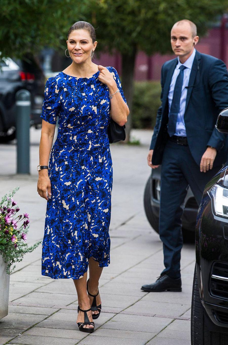 La princesse Victoria de Suède dans une robe Rodebjer à Stockholm, le 4 septembre 2019