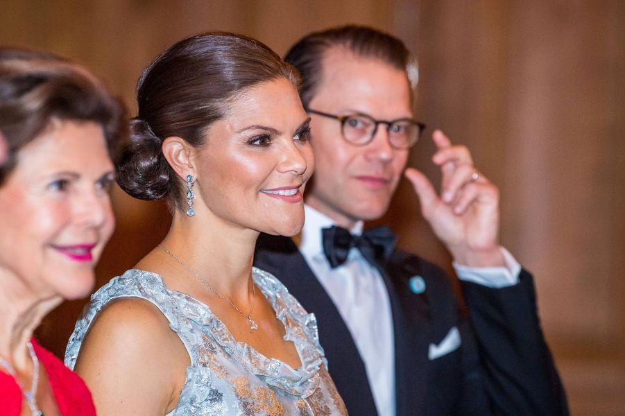 La reine Silvia, la princesse Victoria et le prince Daniel de Suède à Stockholm, le 20 septembre 2019