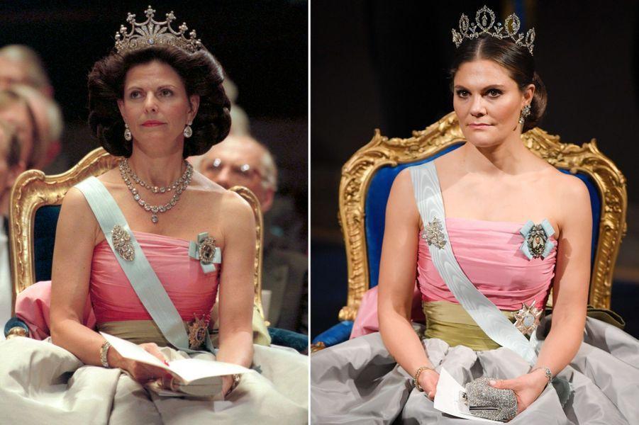 La reine Silvia, en 1995, et la princesse Victoria de Suède, en 2018, à la cérémonie des prix Nobel à Stockholm