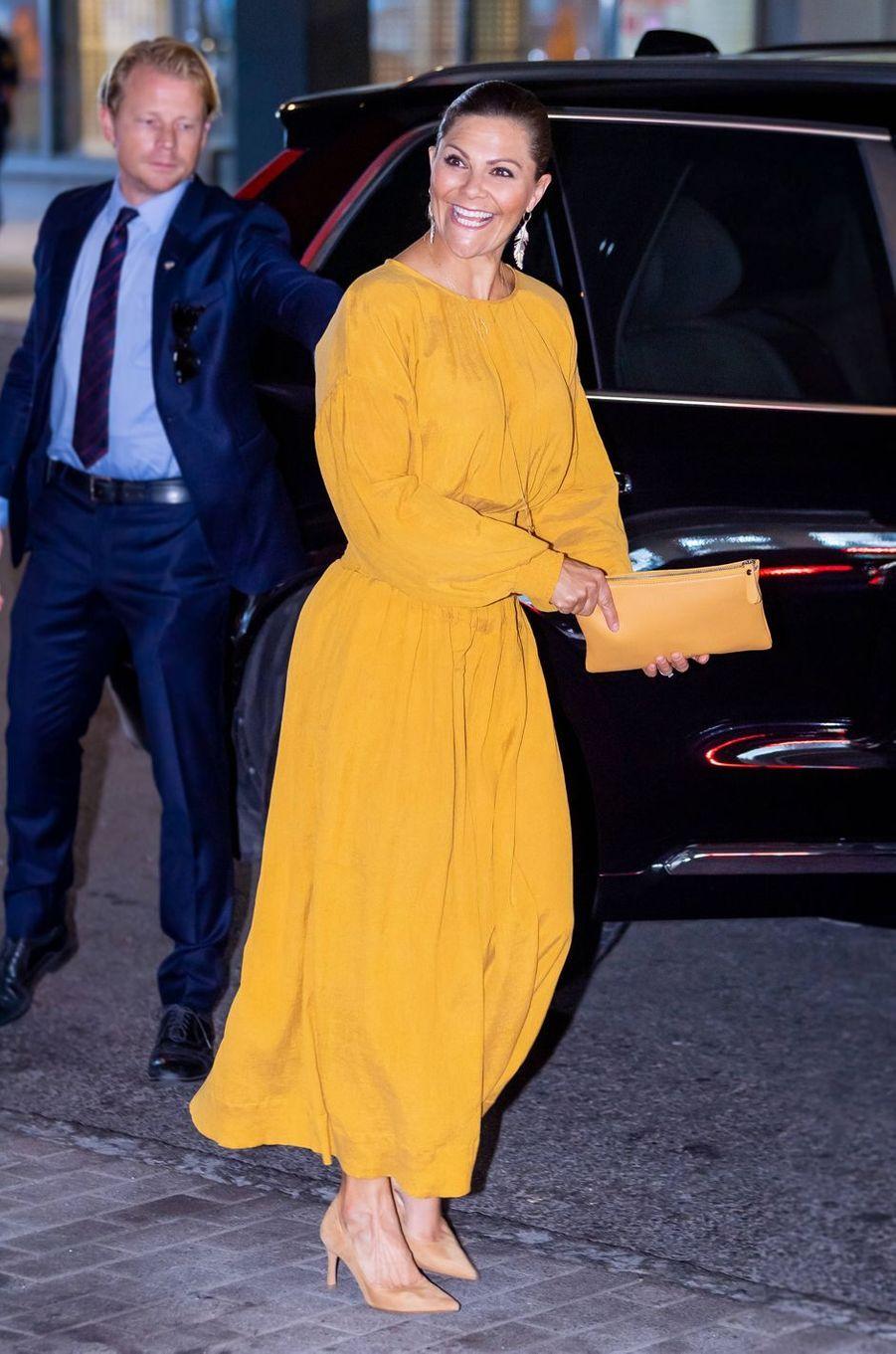 La princesse Victoria de Suède dans une robe Rodebjer à Stockholm, le 28 août 2019