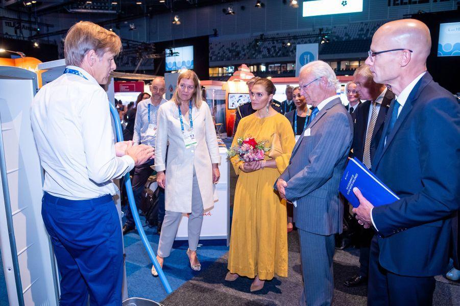 La princesse Victoria de Suède avec son père le roi Carl XVI Gustaf à Stockholm, le 28 août 2019