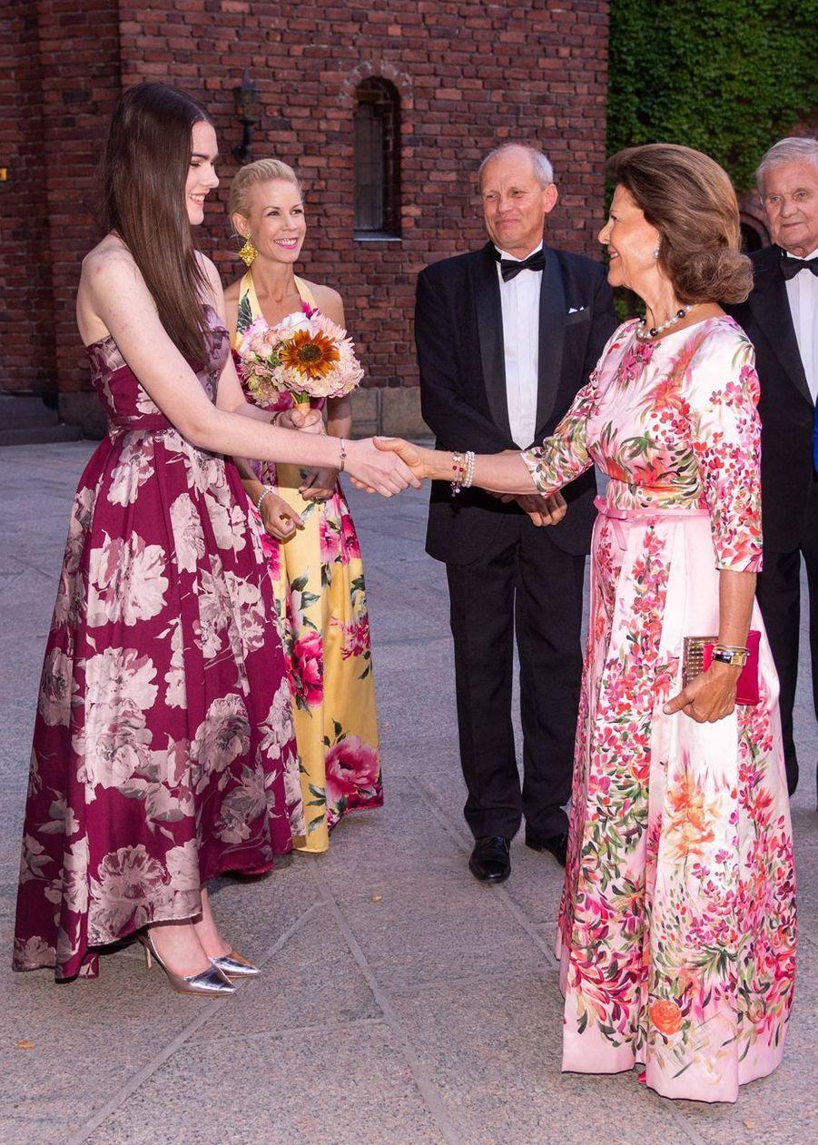 La reine Silvia de Suède à Stockholm, le 28 août 2019