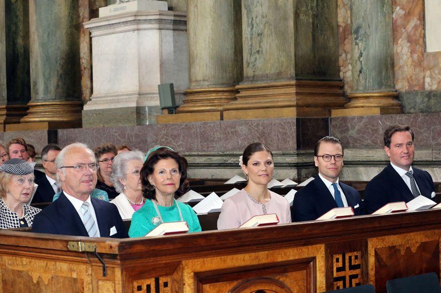 Le roi Carl XVI Gustaf, la reine Silvia, la princesse Victoria, le prince Daniel et Christopher O'Neill à Stockholm, le 18 juin 2015