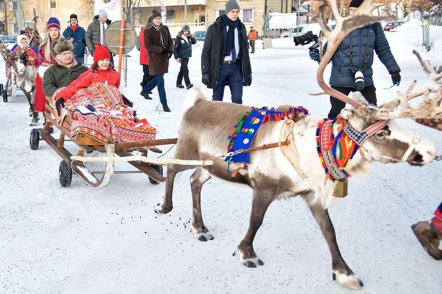 La reine Silvia et le roi Carl XVI Gustaf de Suède à Jokkmokk au nord de la Suède, le 6 février 2020