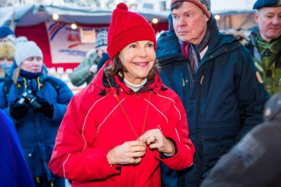 La reine Silvia de Suède à Jokkmokk, le 6 février 2020