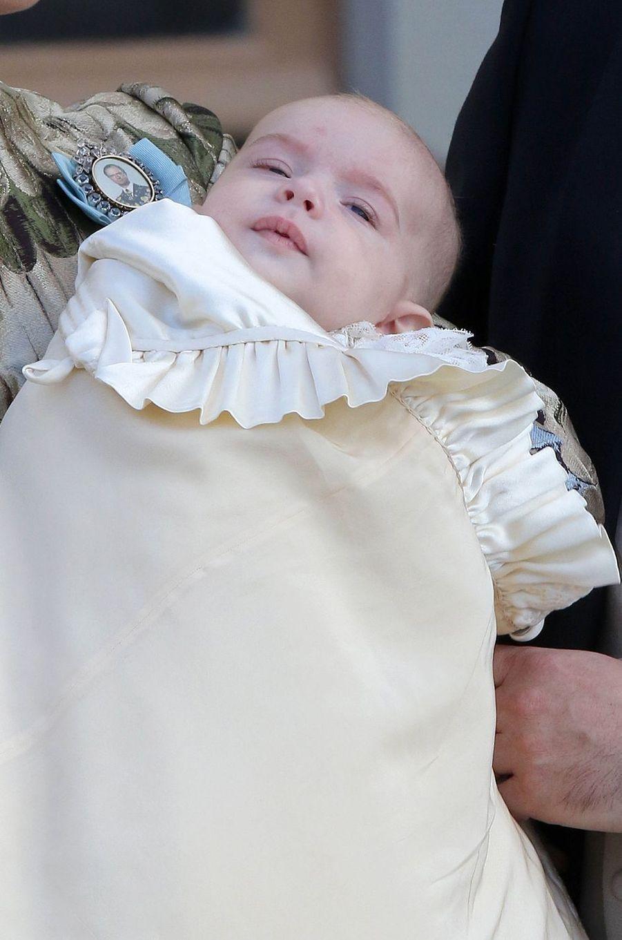 Le prince Nicolas de Suède le jour de son baptême à Stockholm, le 11 octobre 2015