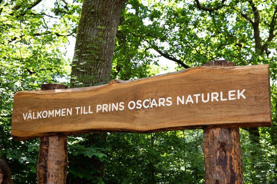 L'entrée du terrain de jeux au nom du prince Oscar de Suède dans le parc national de Söderåsen en Scanie, le 17 juin 2019