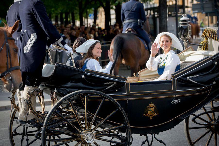 Les princesses Sofia et Madeleine et le prince Carl Philip de Suède à Stockholm, le 6 juin 2016