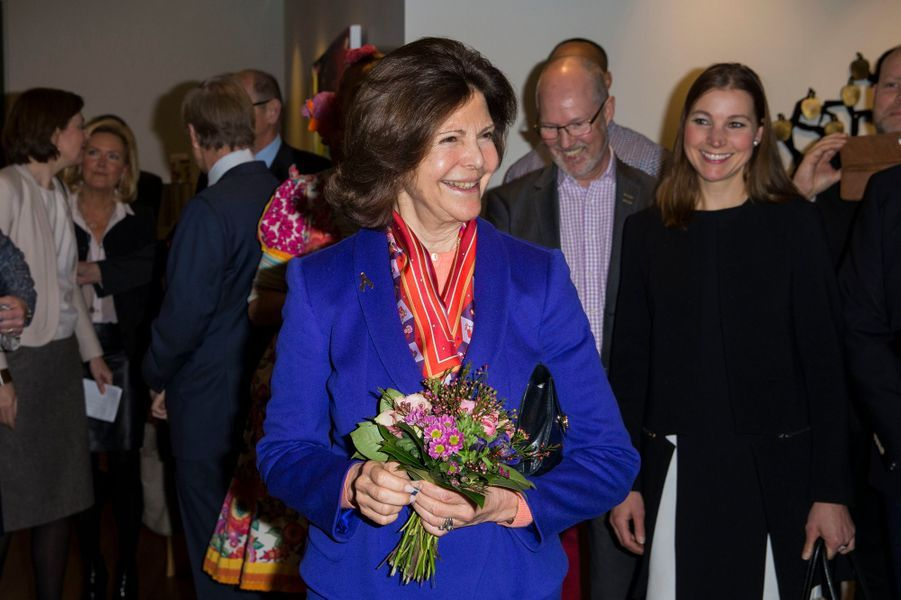 La reine Silvia de Suède à Stockholm, le 11 février 2016