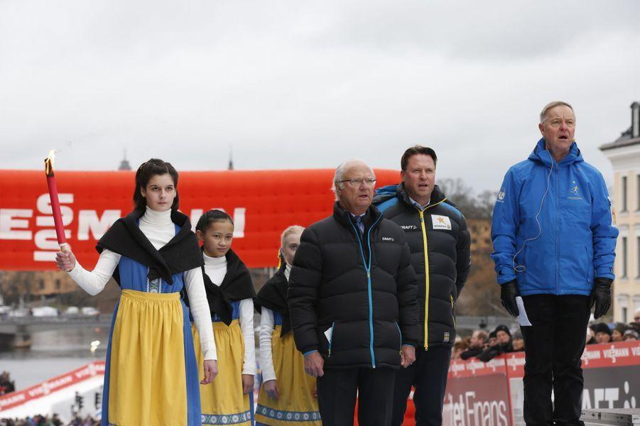 Le roi Carl XVI Gustaf de Suède au Slottssprinten à Stockholm, le 11 février 2016
