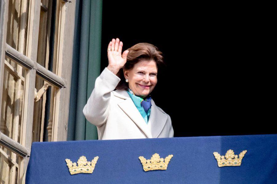 La reine Silvia de Suède à Stockholm, le 30 avril 2019
