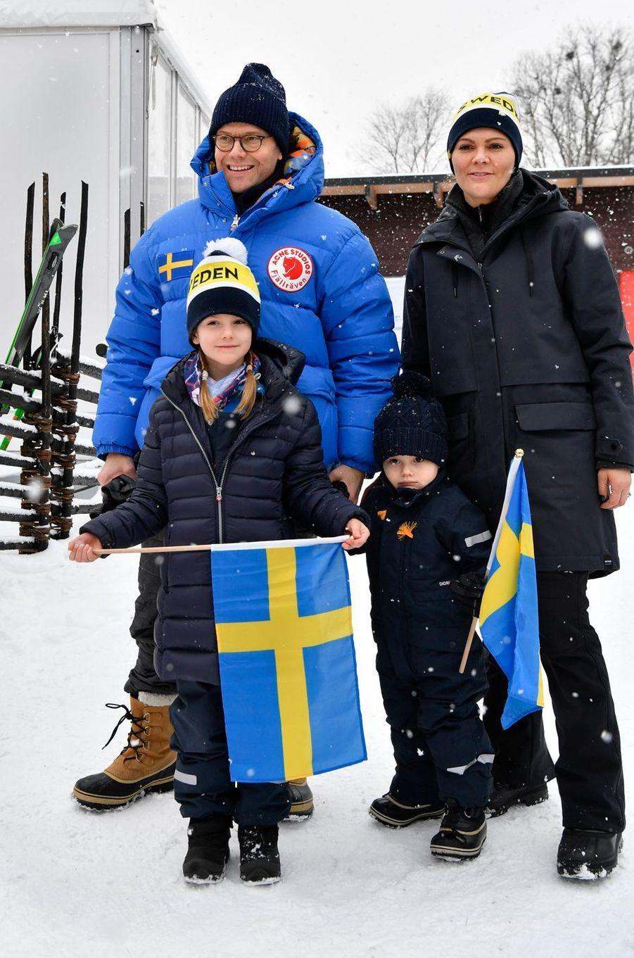 La princesse Victoria de Suède et le prince consort Daniel avec leurs enfants à Are, le week-end des 9 et 10 février 2019