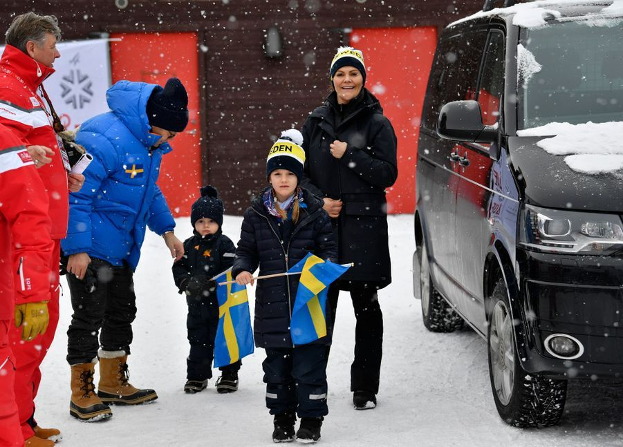 La princesse Victoria de Suède et le prince consort Daniel avec leurs enfants la princesse Estelle et le prince Oscar à Are, le week-end des 9 et 10 février 2019