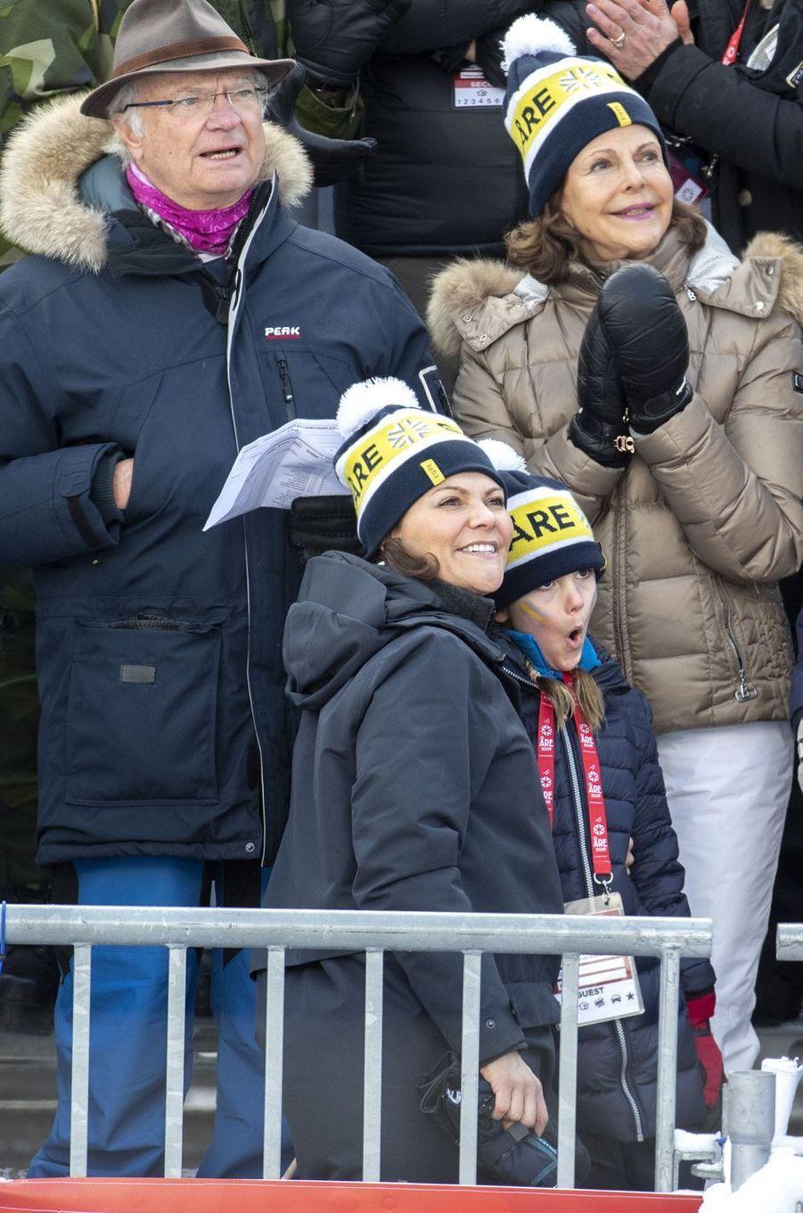 Les princesses Estelle et Victoria de Suède avec la reine Silvia et le roi Carl XVI Gustaf à Are, le week-end des 9 et 10 février 2019