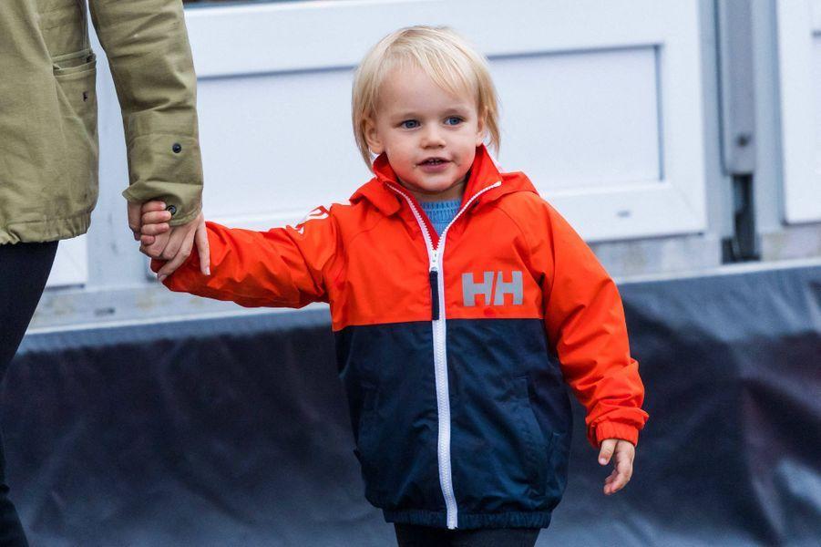 Le prince Gabriel de Suède sur le circuit de Mantorp, le 3 octobre 2020