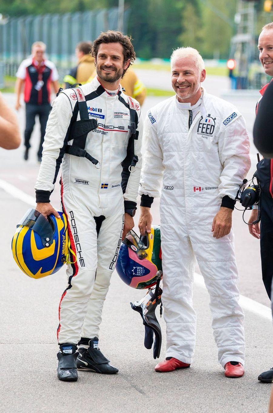 Le prince Carl Philip de Suède sur le circuit suédois de Gellerasen, le 18 août 2019