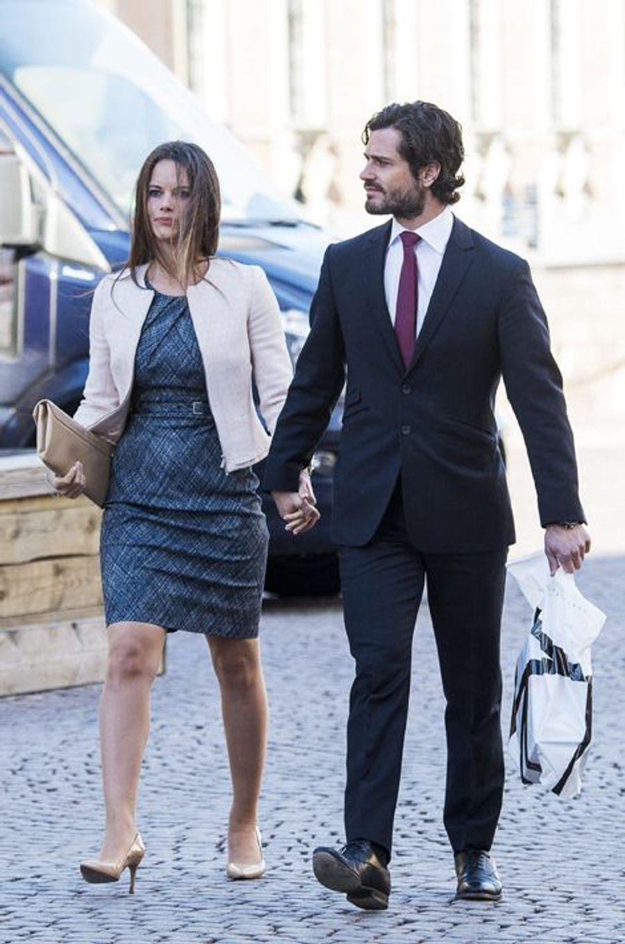 Sofia Hellqvist et le prince Carl Philip à Stockholm, le 21 mars 2015