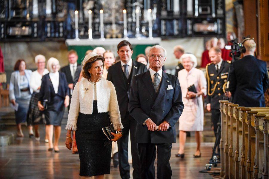 La reine Silvia et le roi Carl XVI Gustaf de Suède, le 8 septembre 2020 à Stockholm