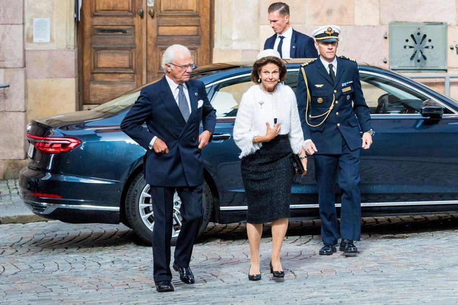 Le roi Carl XVI Gustaf et la reine Silvia de Suède à Stockholm, le 8 septembre 2020