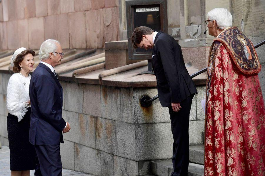 La reine Silvia et le roi Carl XVI Gustaf de Suède à Stockholm, le 8 septembre 2020