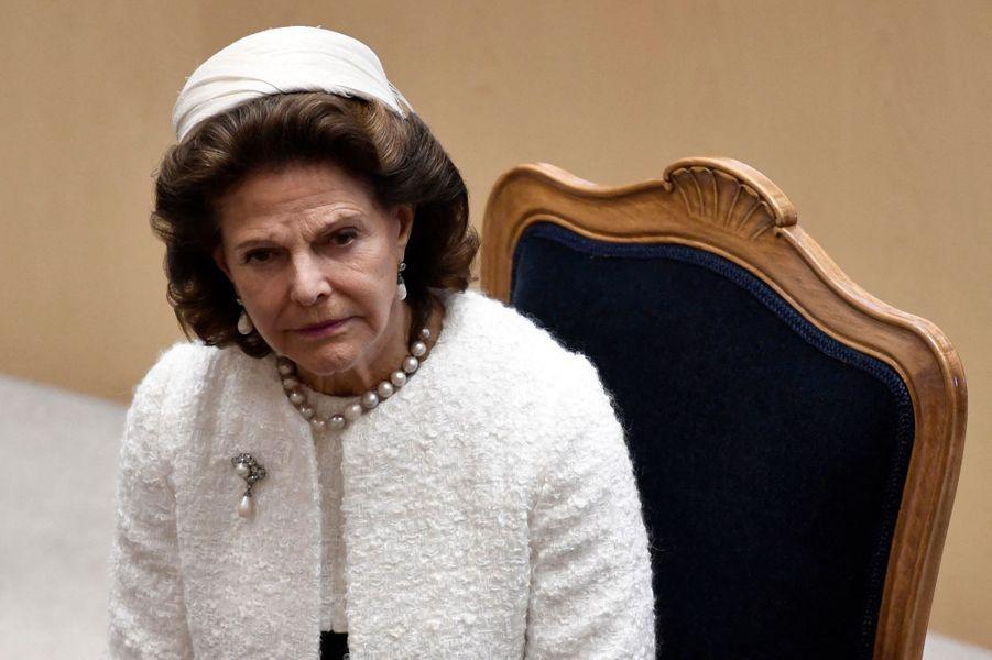 La reine Silvia de Suède à Stockholm, le 8 septembre 2020