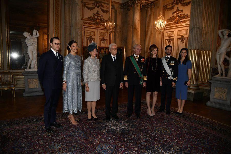 La famille royale de Suède avec le président italien et sa fille à Stockholm, le 13 novembre 2018