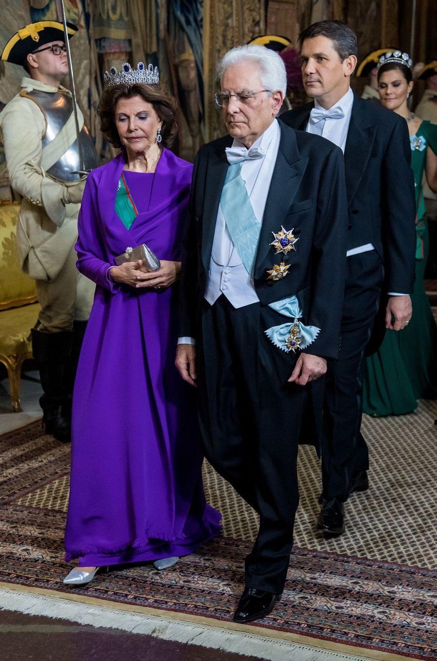 La reine Silvia de Suède et Sergio Mattarella à Stockholm, le 13 novembre 2018