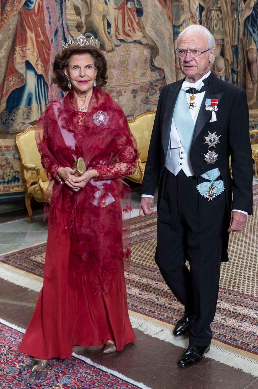 La reine Silvia et le roi Carl XVI Gustaf de Suède à Stockholm, le 12 novembre 2019