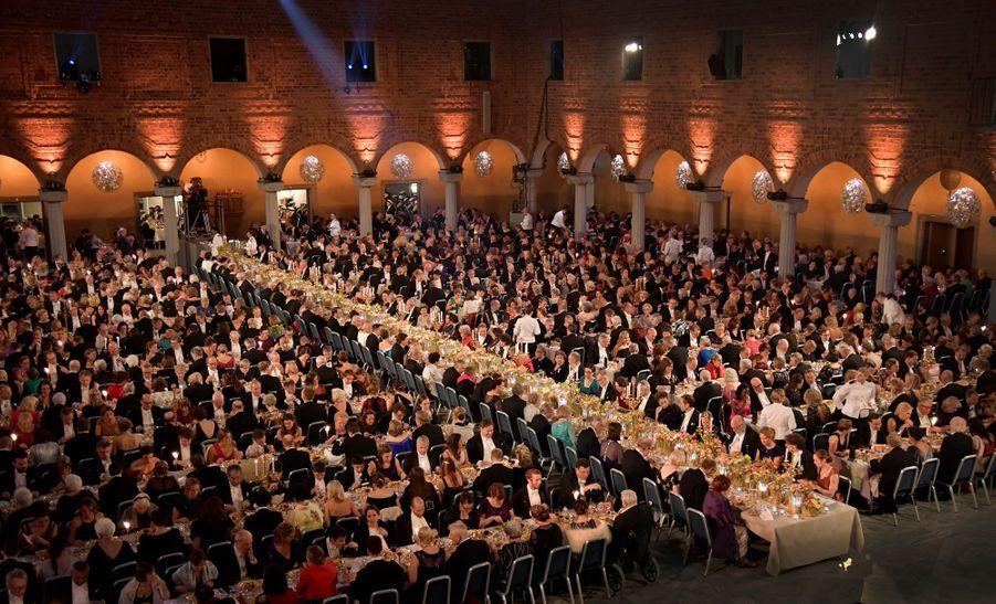 Le banquet en l'honneur des prix Nobel à l'Hôtel de Ville à Stockholm, le 10 décembre 2019