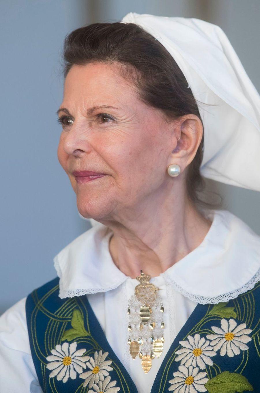La reine Silvia de Suède à Stockholm, le 6 juin 2017