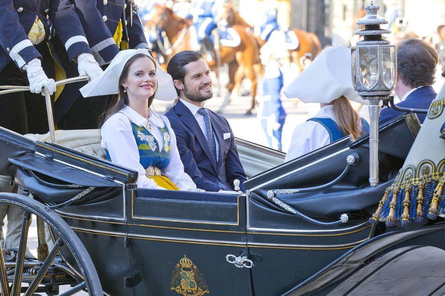 Le prince Carl Philip de Suède, les princesses Sofia et Madeleine et Christopher O'Neill à Stockholm, le 6 juin 2017