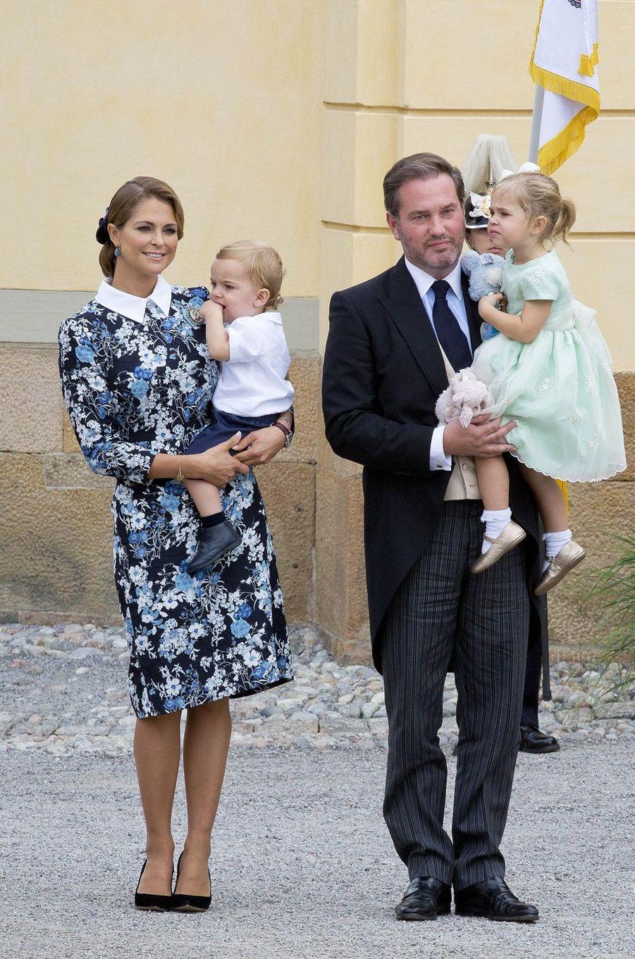 La princesse Madeleine de Suède avec son mari et ses enfants, le 9 septembre 2016