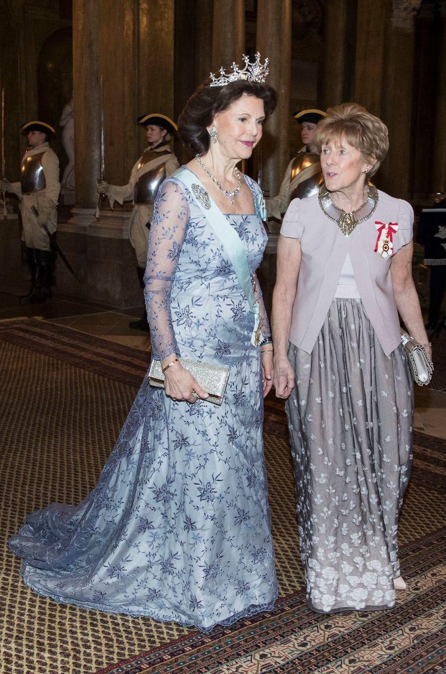 La reine Silvia de Suède et Sharon Johnston à Stockholm, le 20 février 2017