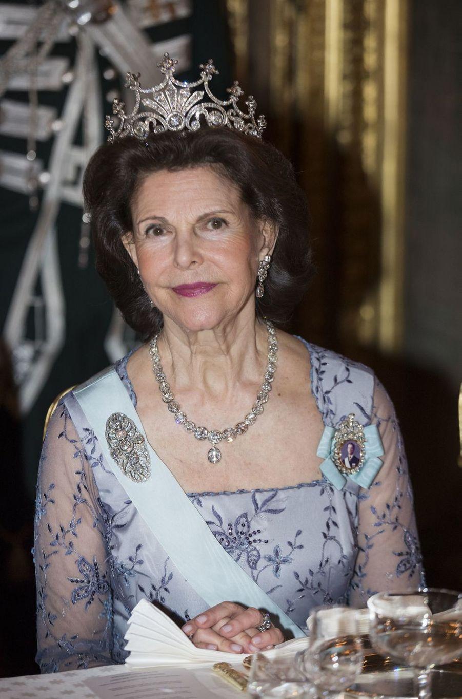 La reine Silvia de Suède à Stockholm, le 20 février 2017