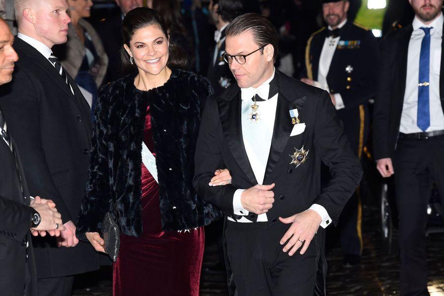 La princesse héritière Victoria de Suède et le prince consort Daniel à Stockholm, le 20 décembre 2017