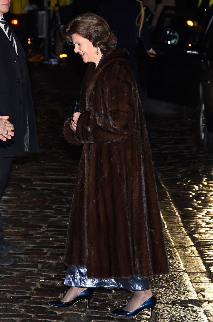 La reine Silvia de Suède à Stockholm, le 20 décembre 2017