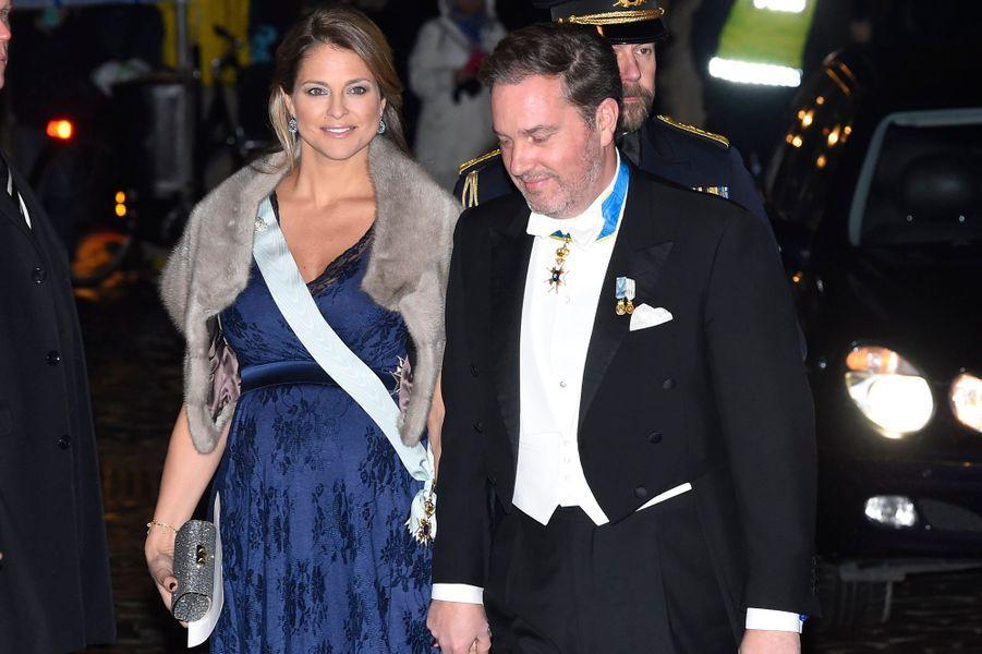 La princesse Madeleine de Suède et son mari Christopher O'Neill à Stockholm, le 20 décembre 2017
