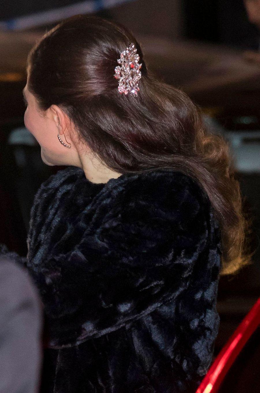La coiffure de la princesse Victoria de Suède à Stockholm, le 20 décembre 2017