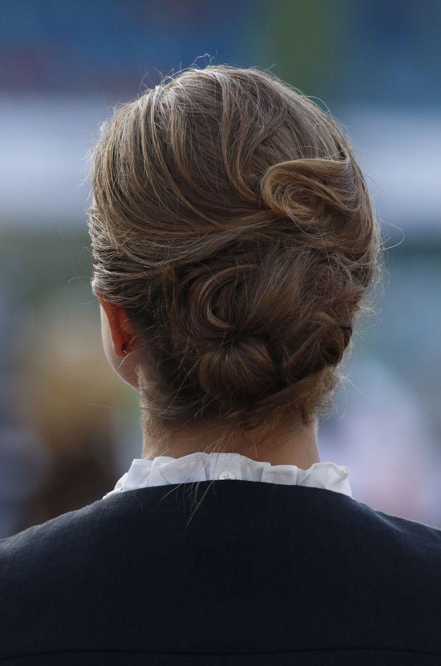 Le chignon de la princesse Madeleine de Suède à Göteborg, le 21 août 2017