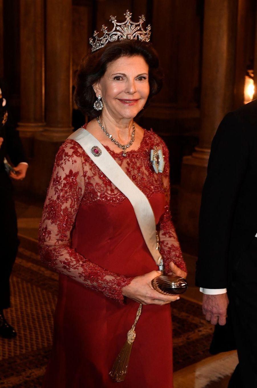 La reine Silvia de Suède à Stockholm, le 11 décembre 2016