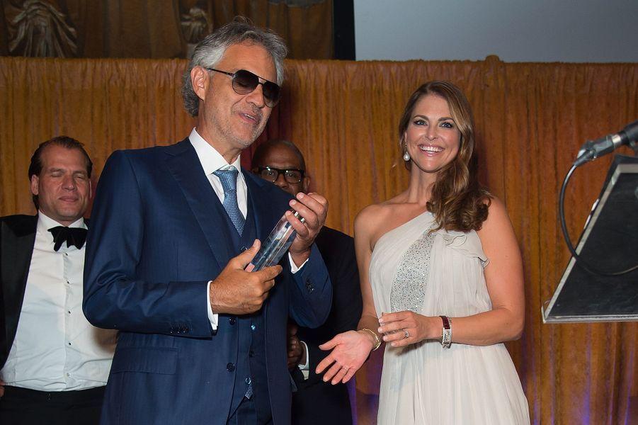 La princesse Madeleine de Suède avec Andrea Bocelli à New York, le 16 septembre 2016
