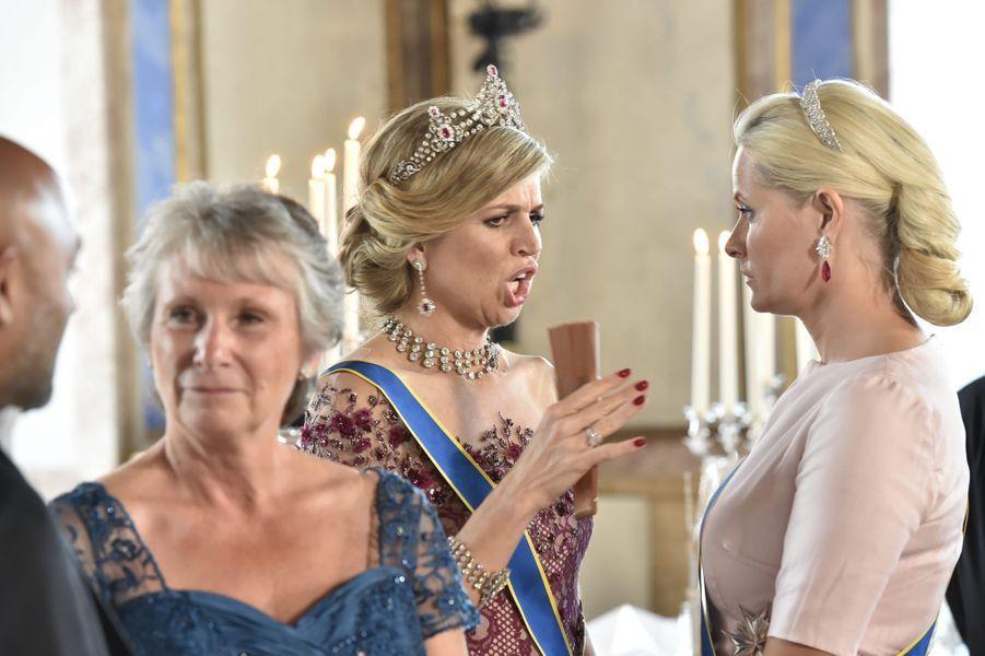 Le reine Maxima des Pays-Bas et la princesse Mette-Marit de Norvège, le 13 juin 2015