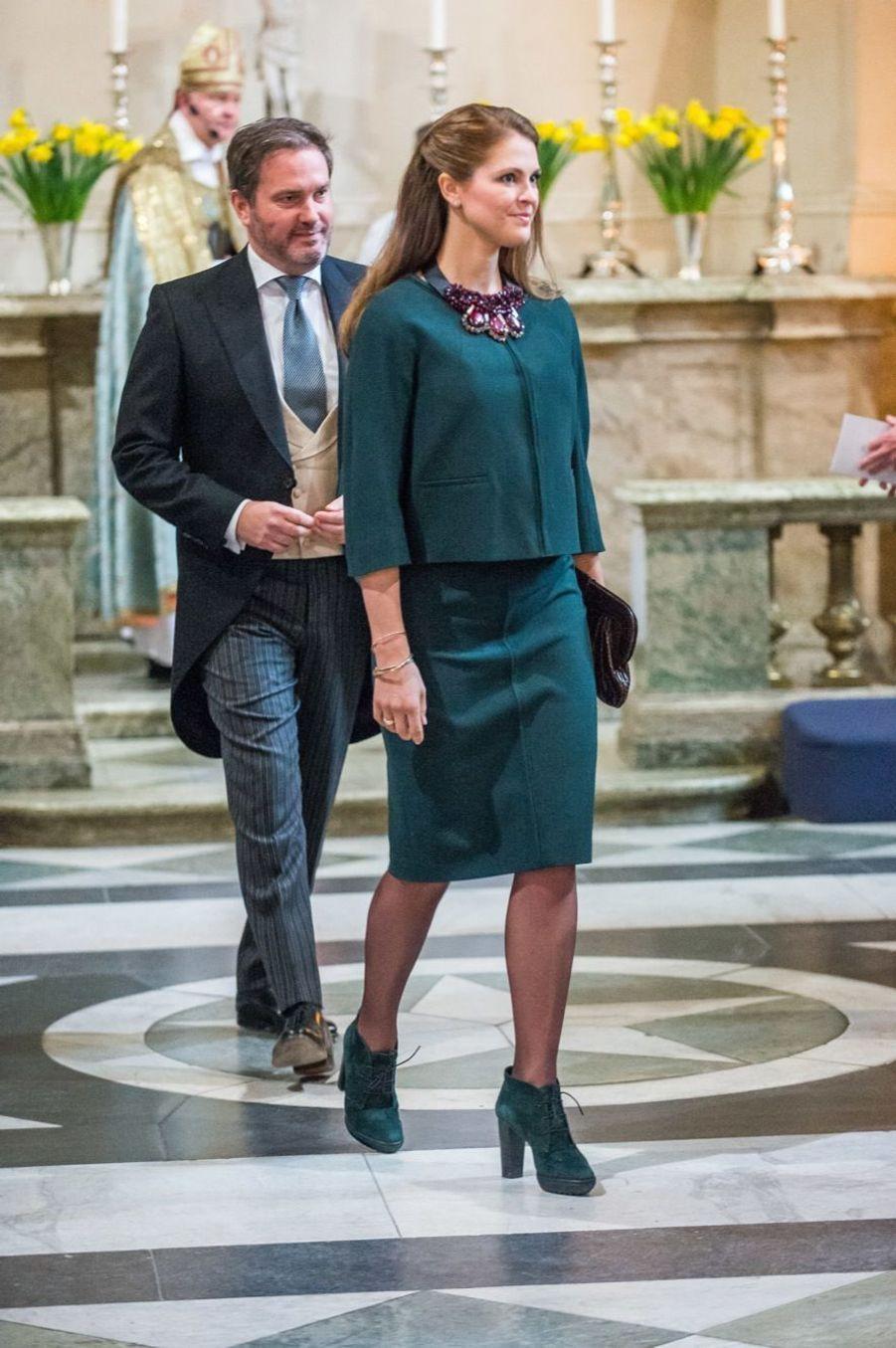 La princesse Madeleine et son époux Chris, lors de la cérémonie en la chapelle royale