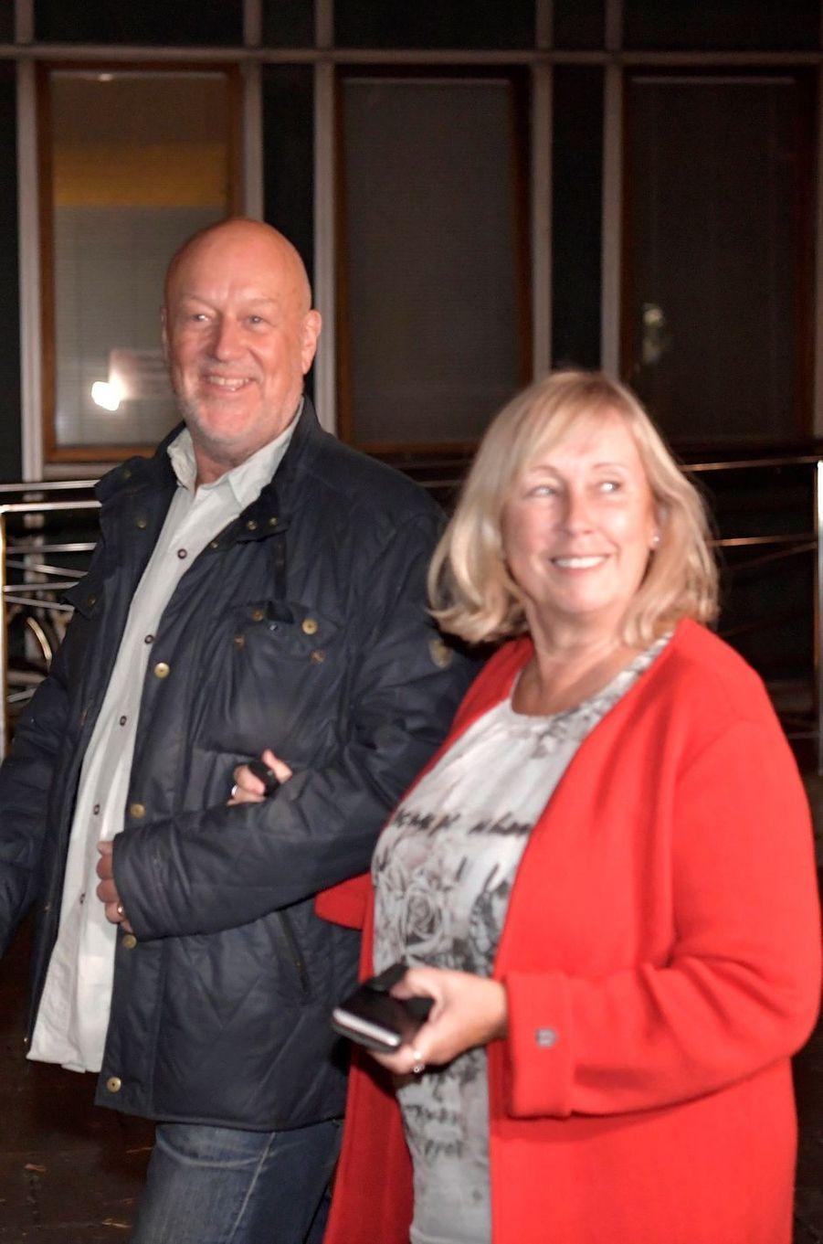 Marie et Erik Hellqvist, les parents de la princesse Sofia de Suède, à Stockholm, le 31 août 2017