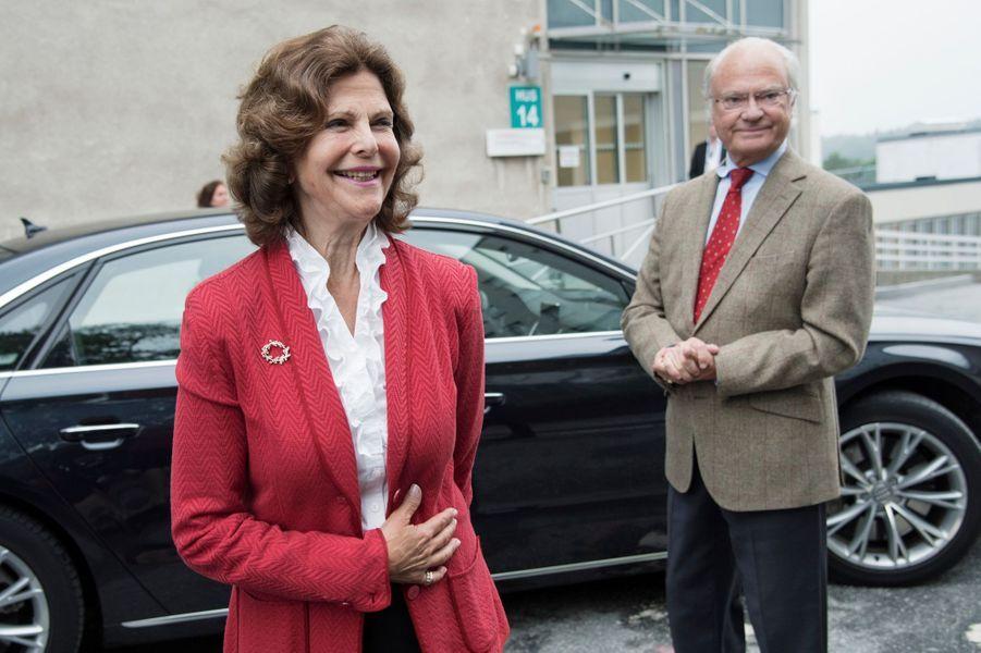 La reine Silvia et le roi Carl XVI Gustaf de Suède à Stockholm, le 31 août 2017